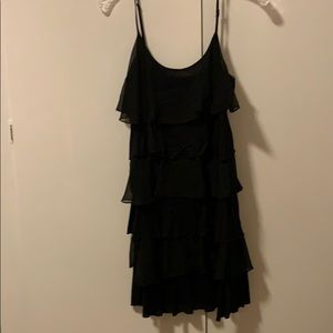 Ruffled black strappy dress
